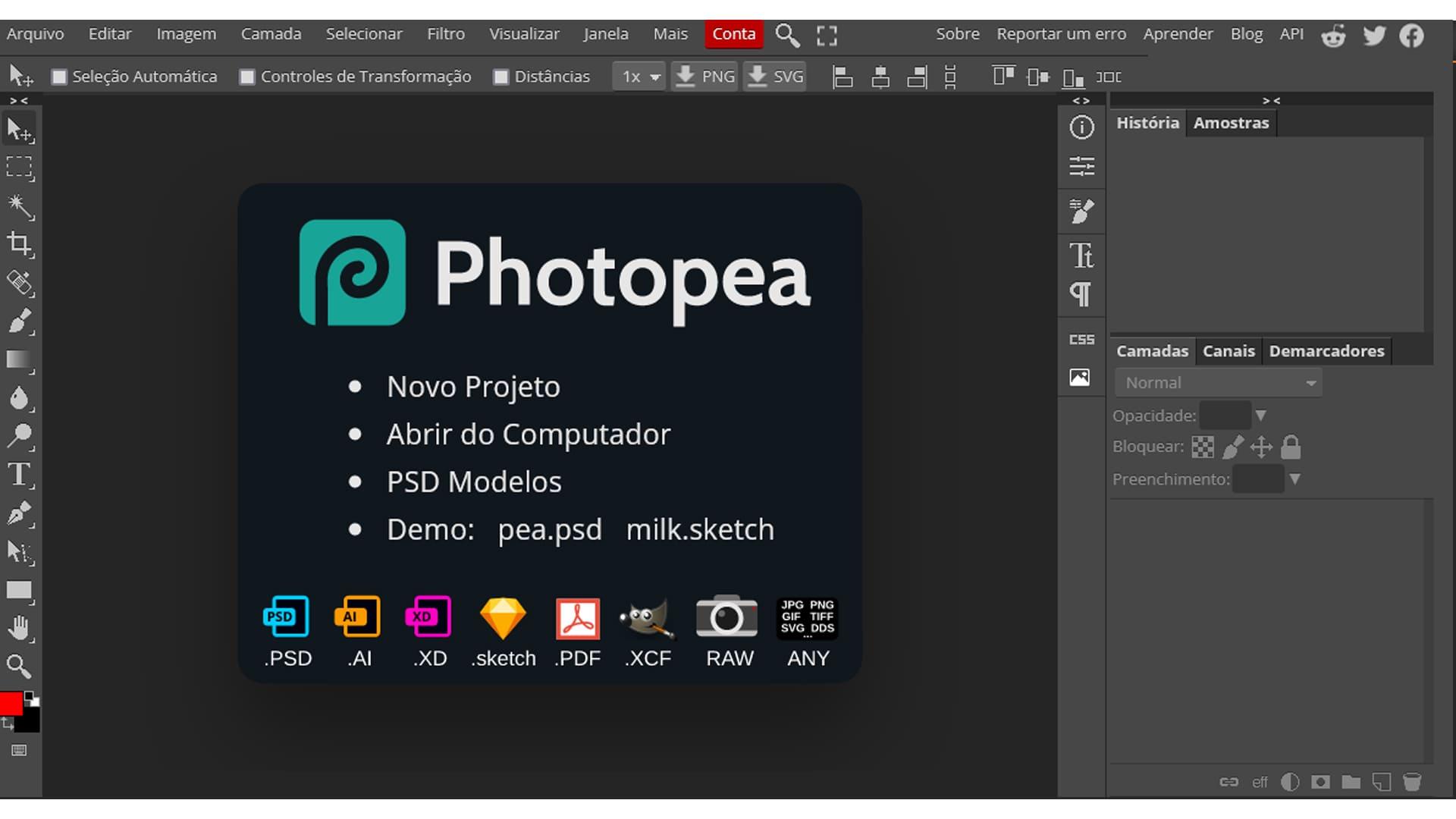 Captura de tela do editor de fotos pra PC Photopea