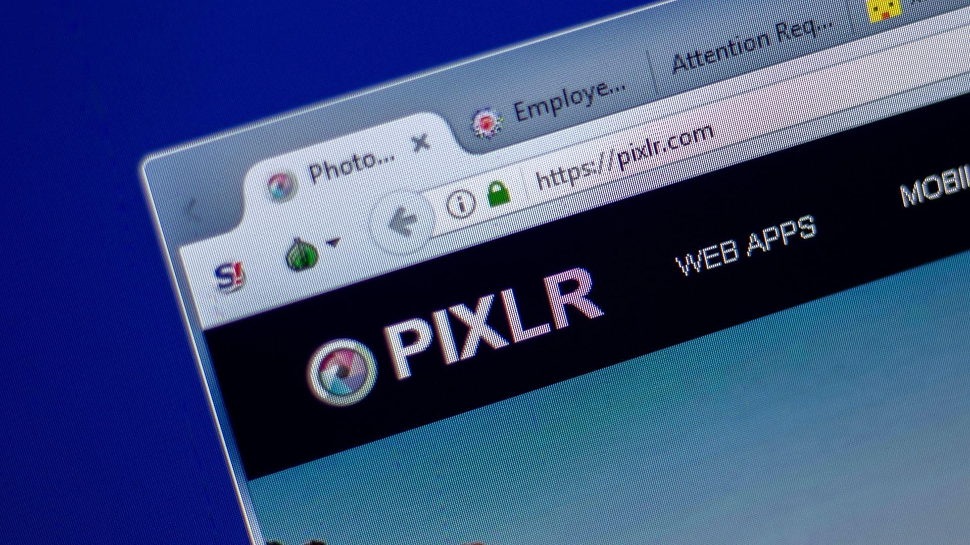Página da web mostra editor de fotos para PC Pixlr