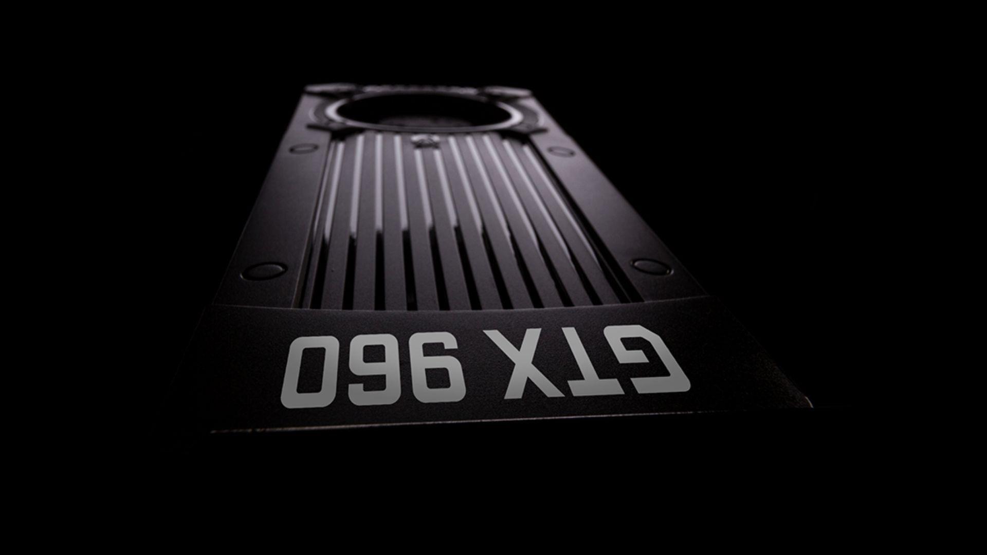 Placa de vídeo GTX 960 preta em close no fundo preto