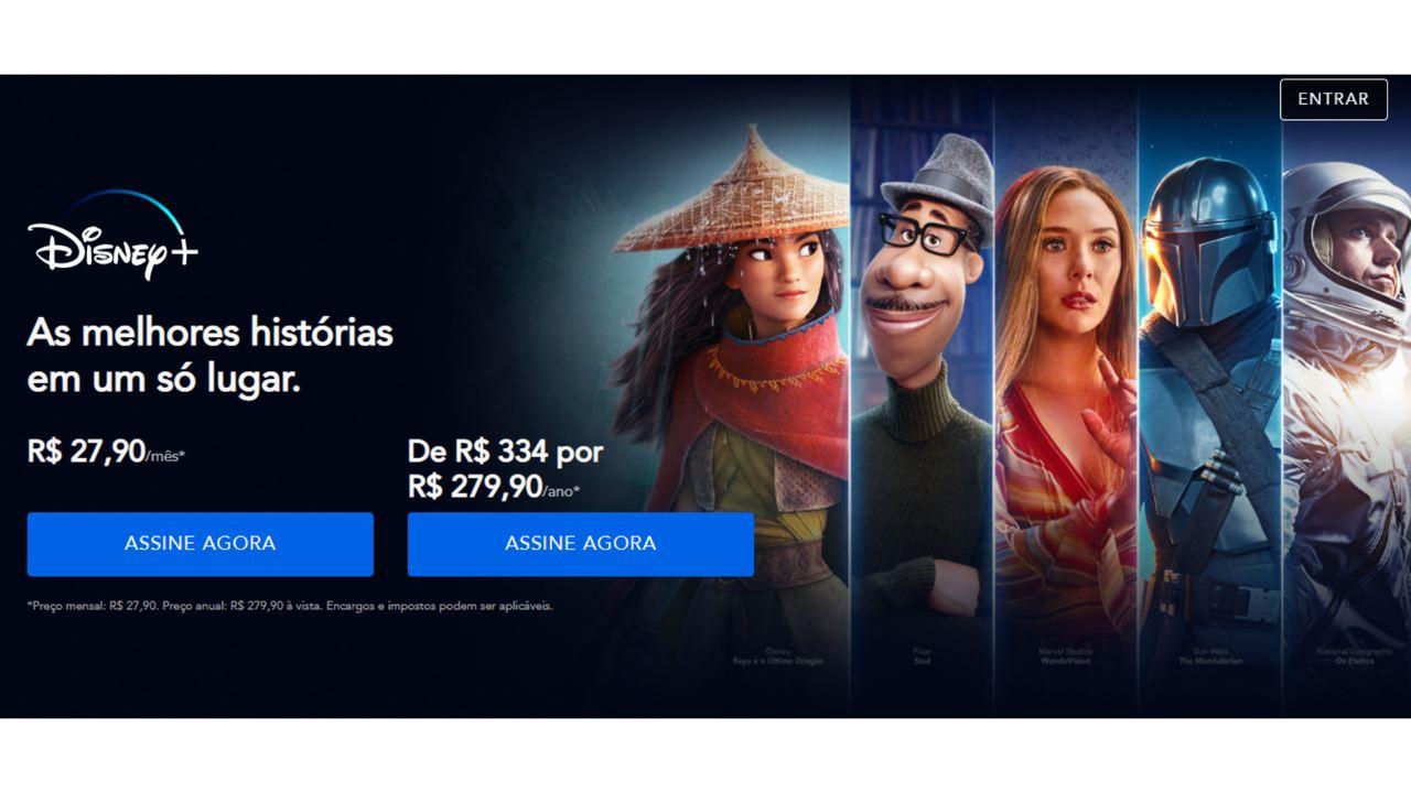 Captura de tela com as opções de plano e preços do Disney Plus.