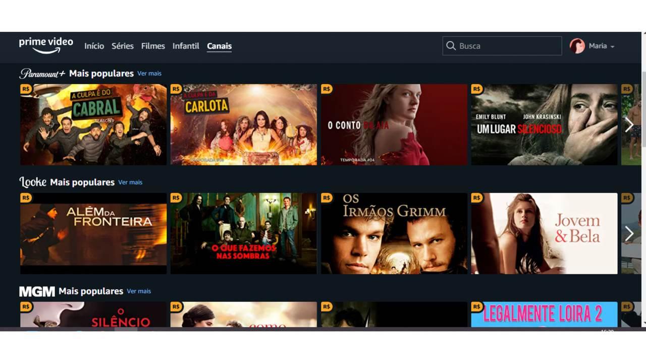 """Captura de tela da aba """"Canais"""" no aplicativo do Amazon Prime Video."""