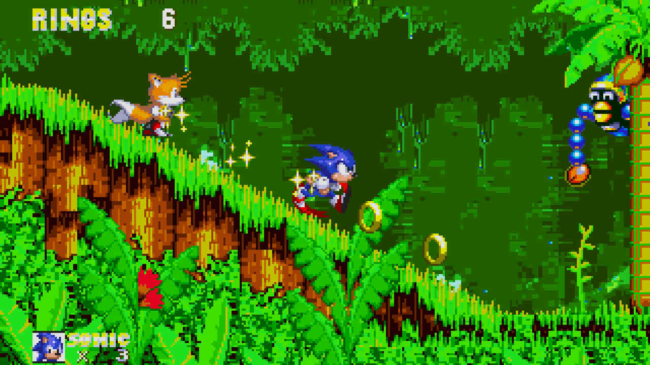Imagem do jogo Sonic the Hedgehog 3 do Mega Drive com o personagem correndo por uma floresta