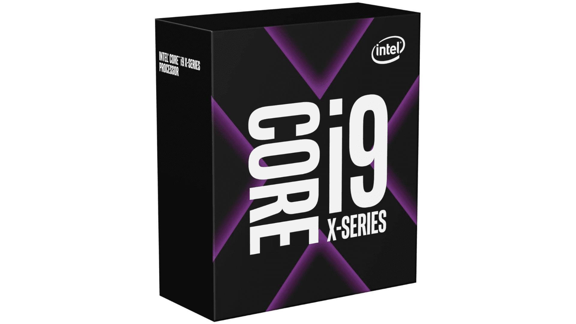 Caixa do processador i9 Série X preta com detalhes em roxo