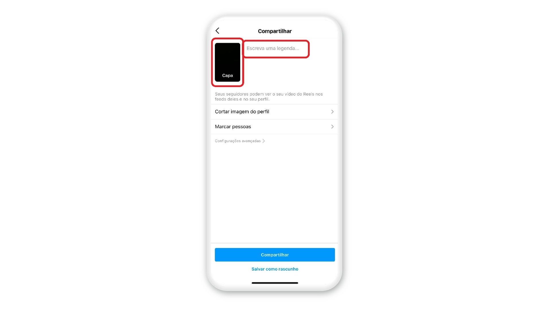 Print mostra opções de adicionar capa e legenda à publicação em uma tela de celular com fundo branco