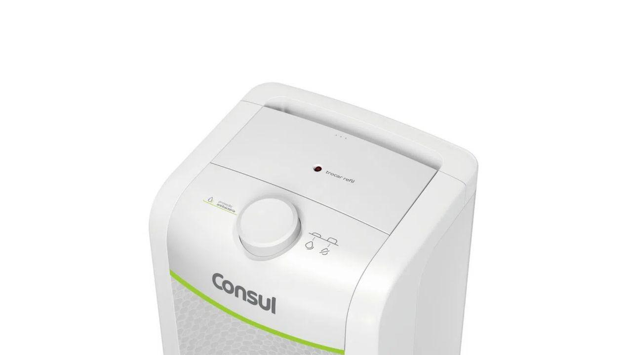 Purificador de água Consul CPC31A branco com foco no botão seletor de funções.