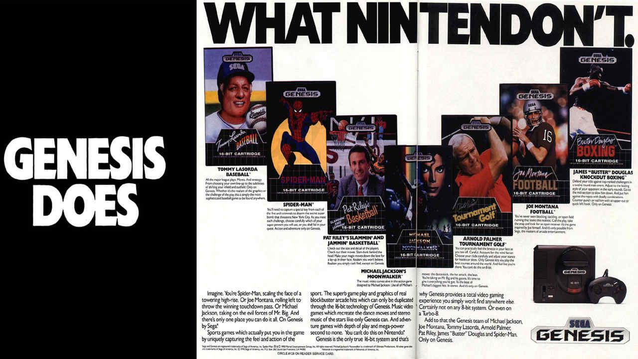 Propaganda do Mega Drive em um revista de videogames dos Estados Unidos nos anos 90 com a campanha Genesis Does What Nintendon't mostrando cartuchos como Moonwalker, Spider-Man e mais