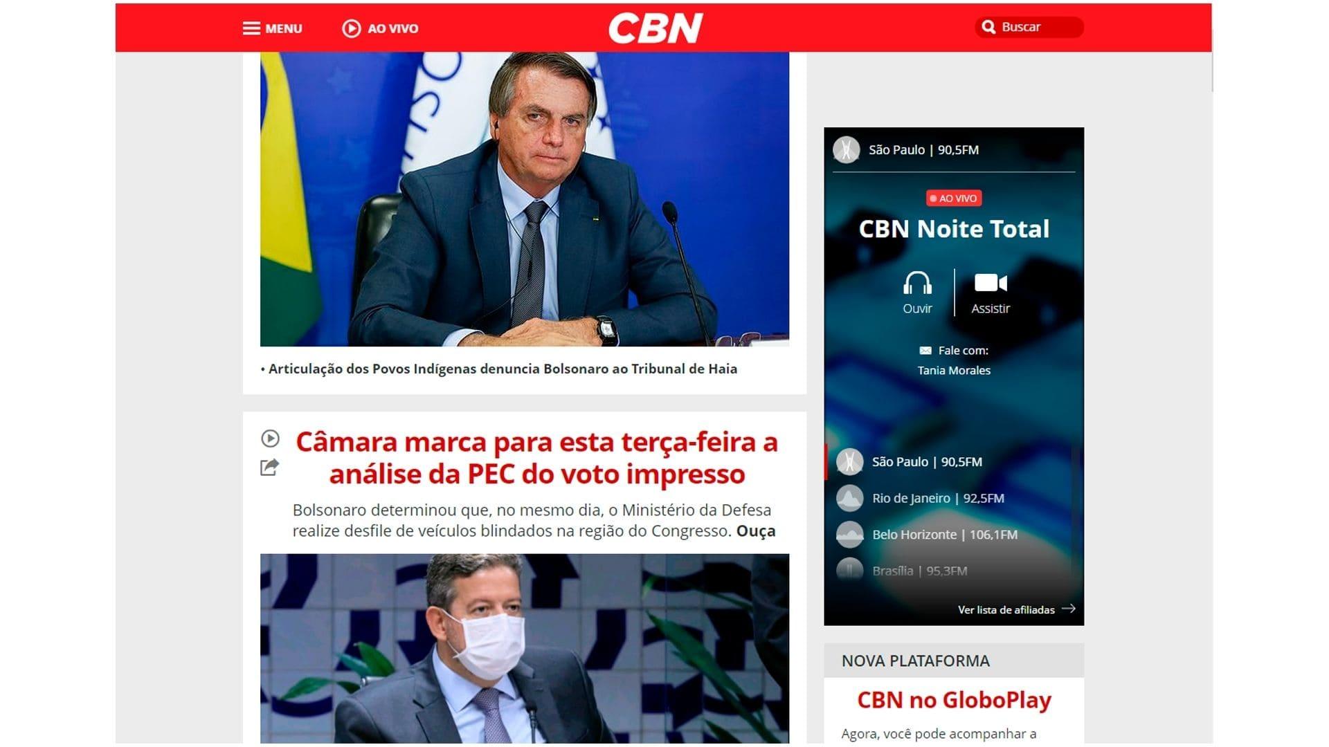 Captura de tela do site da Rádio CBN