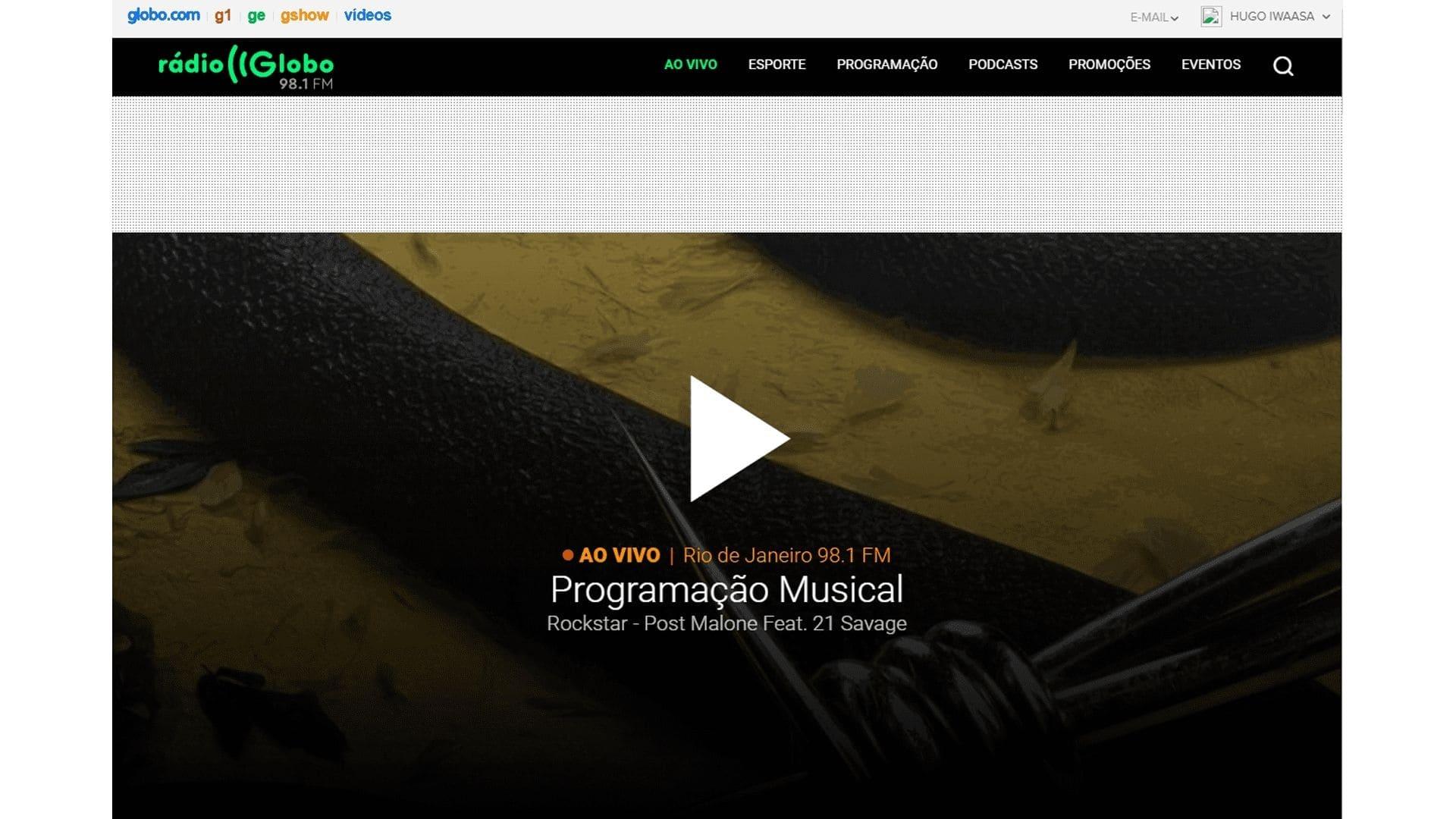 Captura de tela do site da Rádio Globo