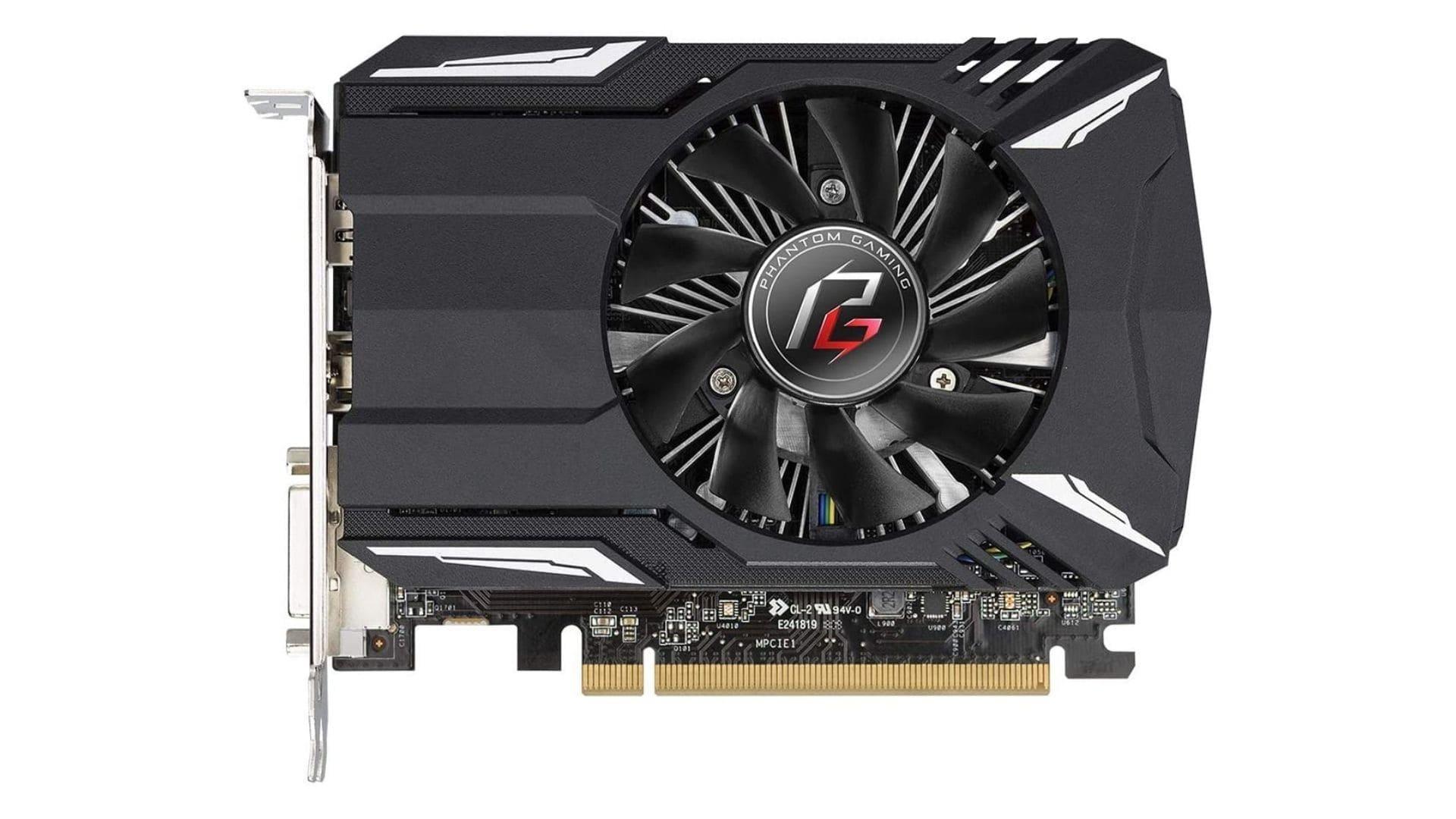 Placa de vídeo 2GB Radeon RX 550 preta no fundo branco