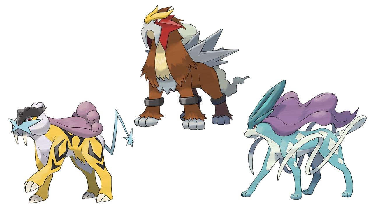 Raikou, Entei e Suicune no fundo branco