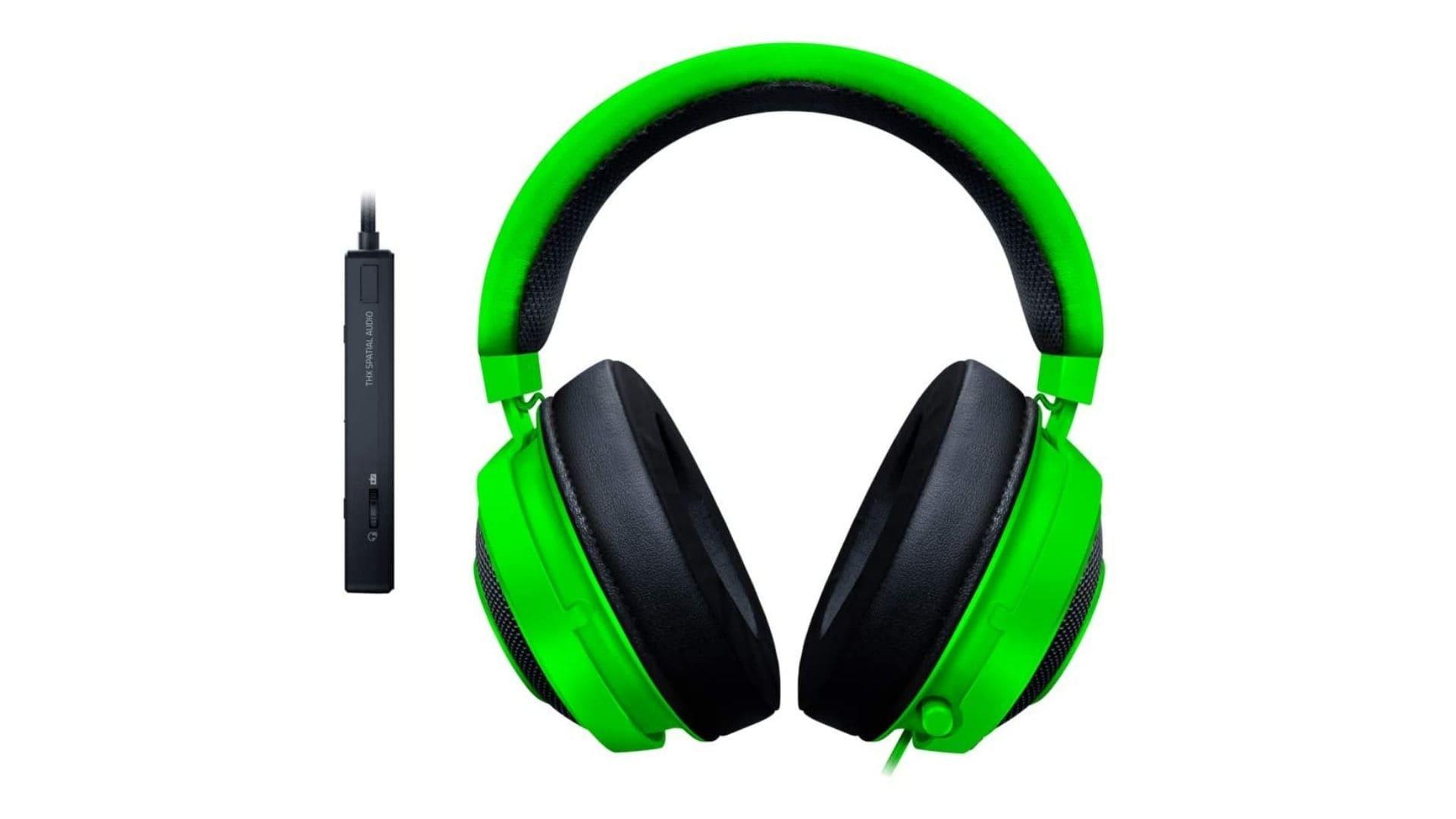 Headset Razer Kraken Tournament Edition verde com detalhes em preto