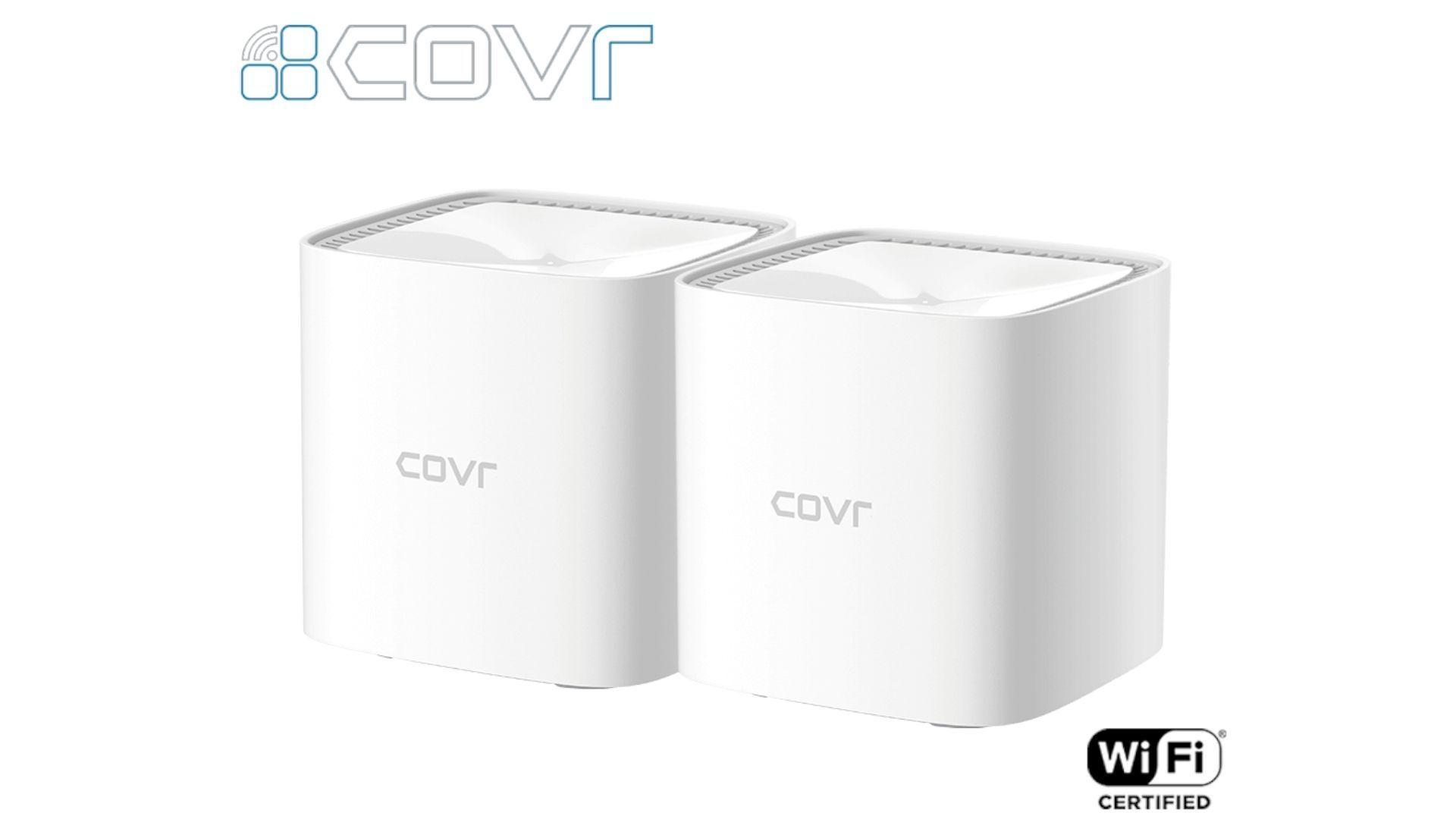 Dois modelos do roteador mesh D-Link COVR 1102 brancos em fundo branco
