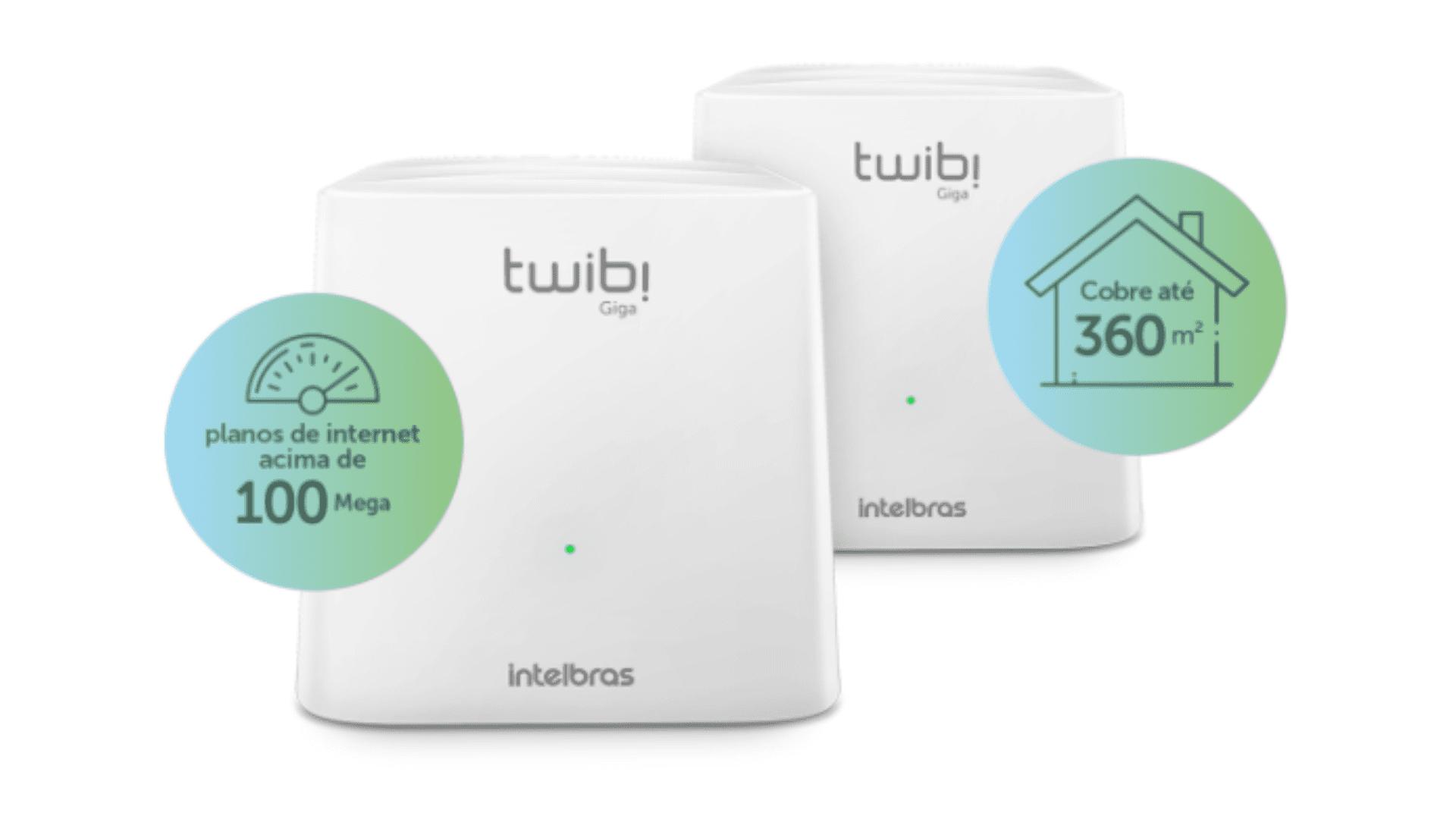 Dois modelos do Roteador Mesh Intelbras Twibi Giga em fundo branco