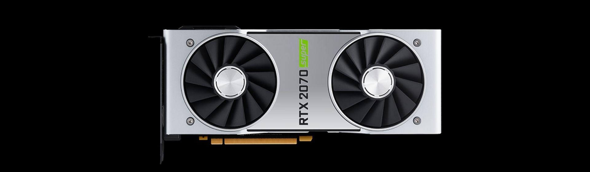 Placa de vídeo RTX 2070 Super cinza em fundo preto