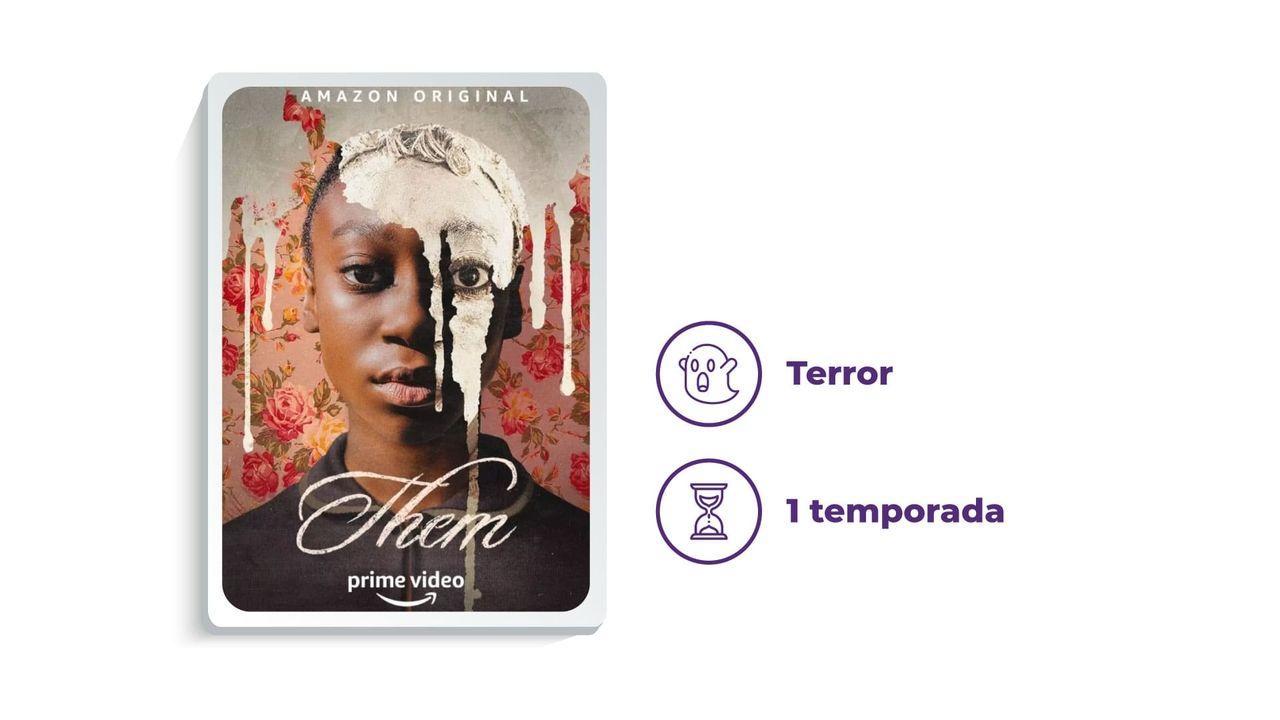 """Banner de divulgação da série """"Them"""" ao lado dos escritos """"Terror"""" e """"1 temporada"""", tudo em fundo branco."""