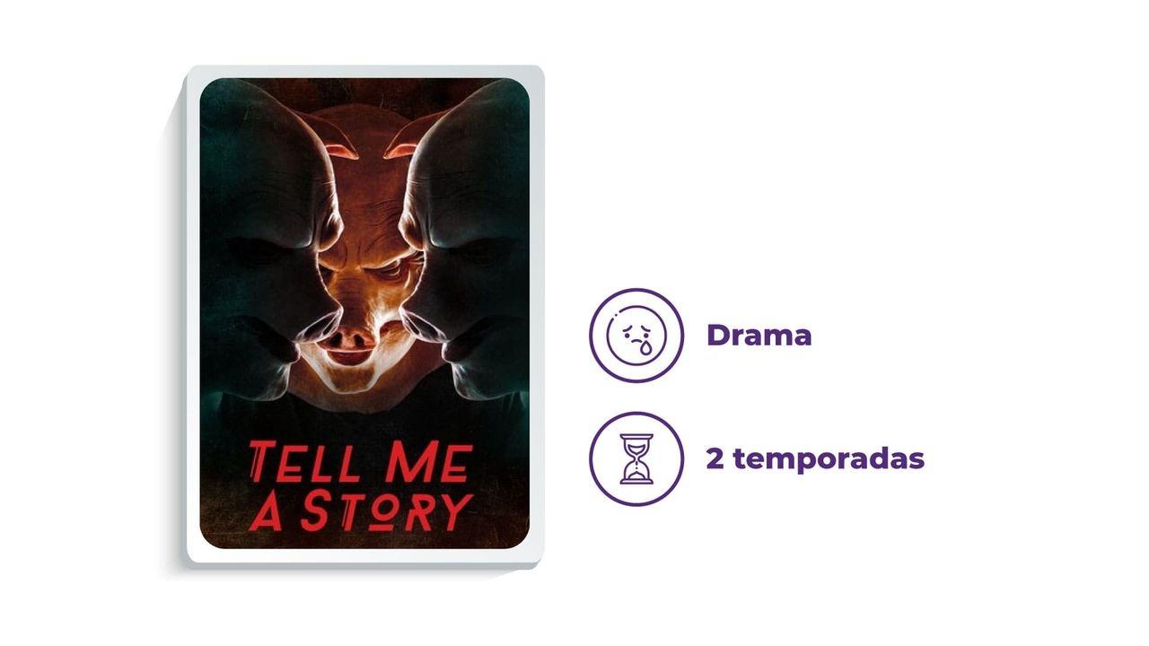 """Banner divulgação da série """"Tell Me A Story"""" ao lado dos escritos """"Drama"""" e """"2 temporadas"""", tudo em fundo branco."""