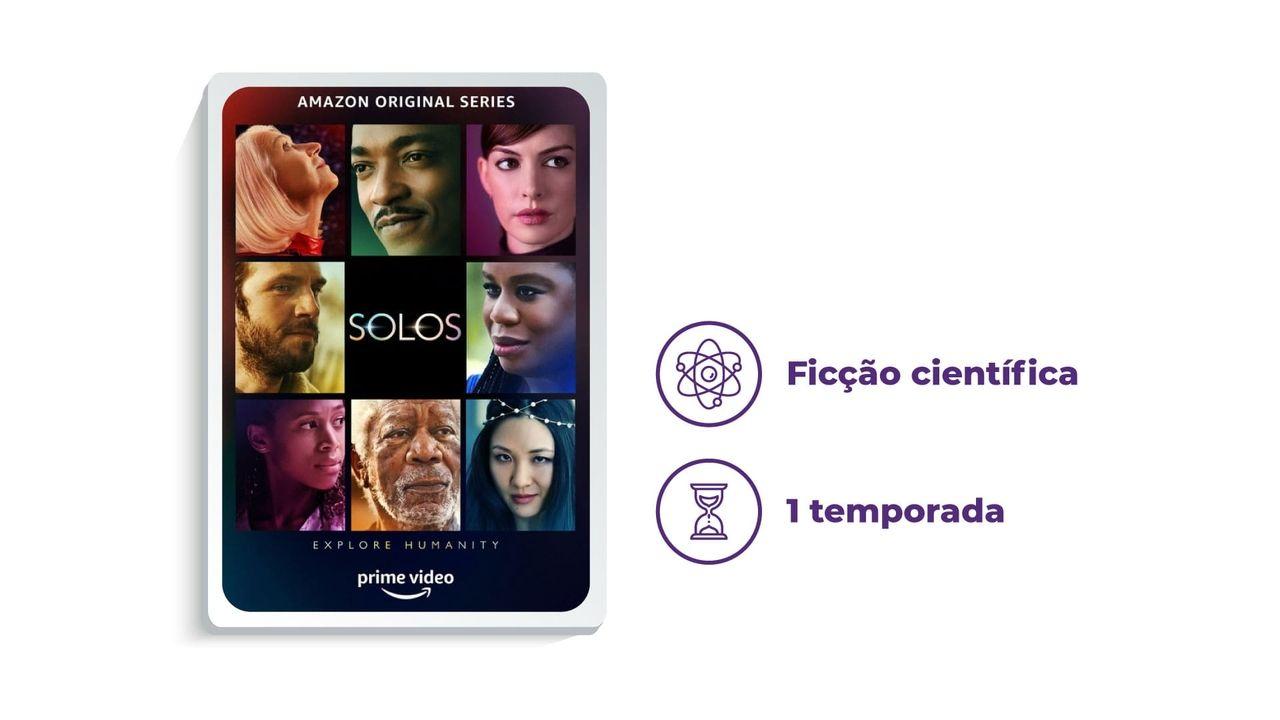 """Cartaz de divulgação da série """"Solos"""" ao lado dos escritos """"Ficção científica"""" e """"1 temporada"""", tudo em fundo branco."""