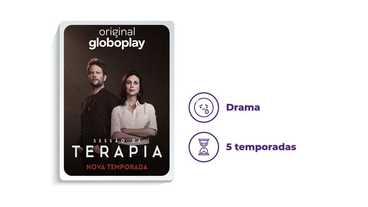 """Banner série """"Sessão de Terapia"""" ao lado dos escritos """"Drama"""" e """"1 temporada"""", tudo em fundo branco."""