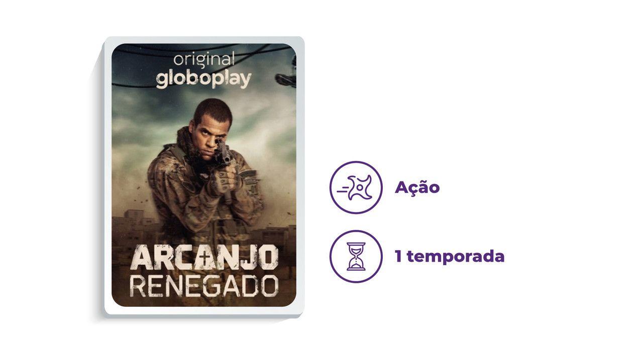"""Imagem de divulgação da série """"Arcanjo Renegado"""", ao lado dos escritos """"Ação"""" e """"1 temporada"""", tudo em fundo branco."""