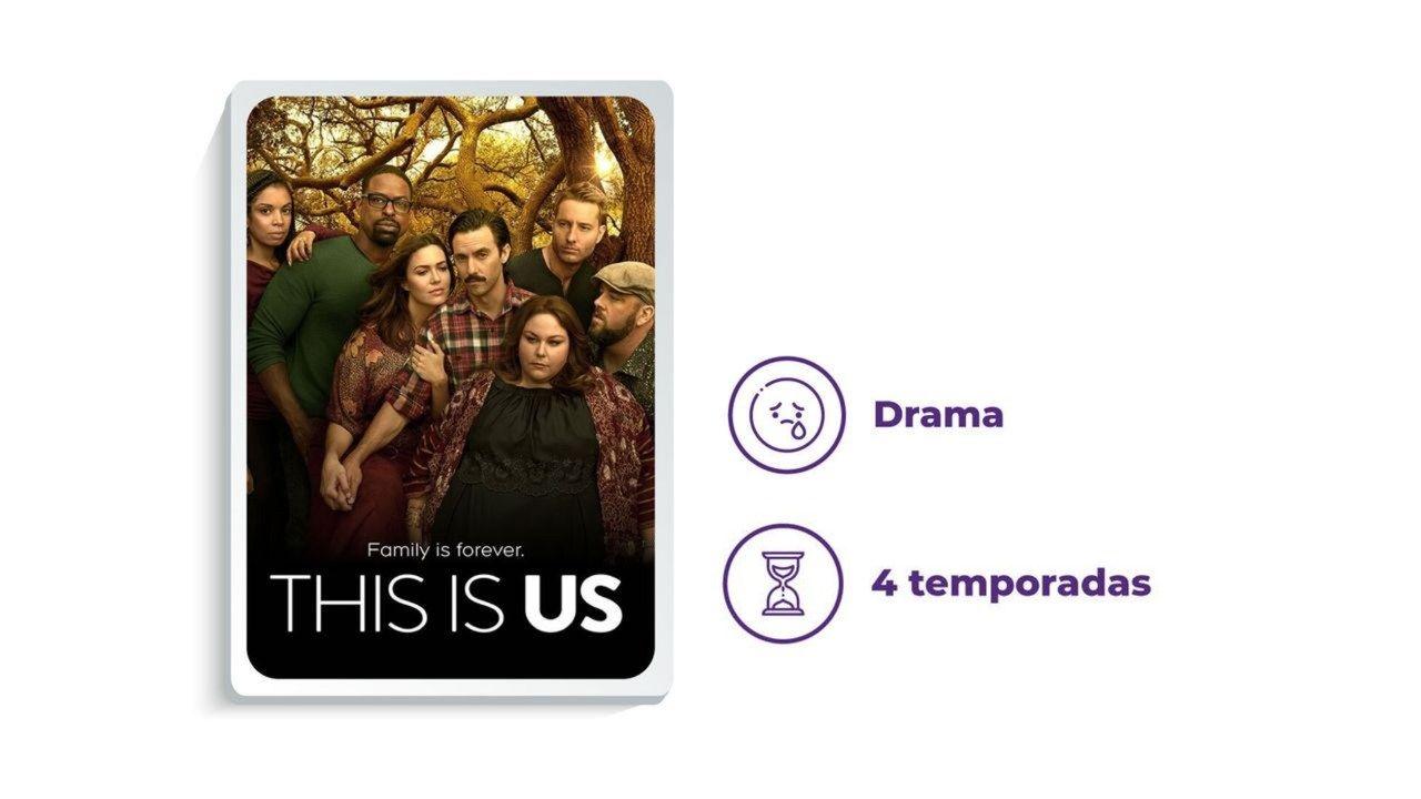 """Cartaz de divulgação da série """"This Is Us"""" ao lado dos escritos """"Drama"""" e """"4 temporadas"""", tudo em fundo branco."""