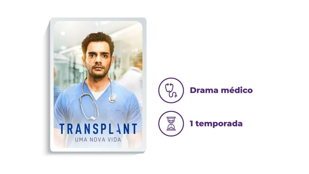 """Capa de divulgação da série """"Transplant"""" ao lado dos escritos """"Drama médico"""" e """"1 temporada"""", tudo em fundo branco."""