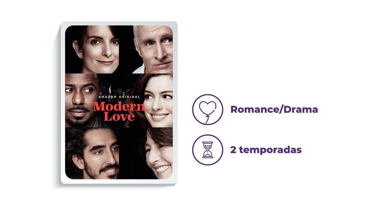 """Banner de divulgação da série """"Modern Love"""" ao lado dos escritos """"Romance/Drama"""" e """"2 temporadas"""", tudo em fundo branco."""