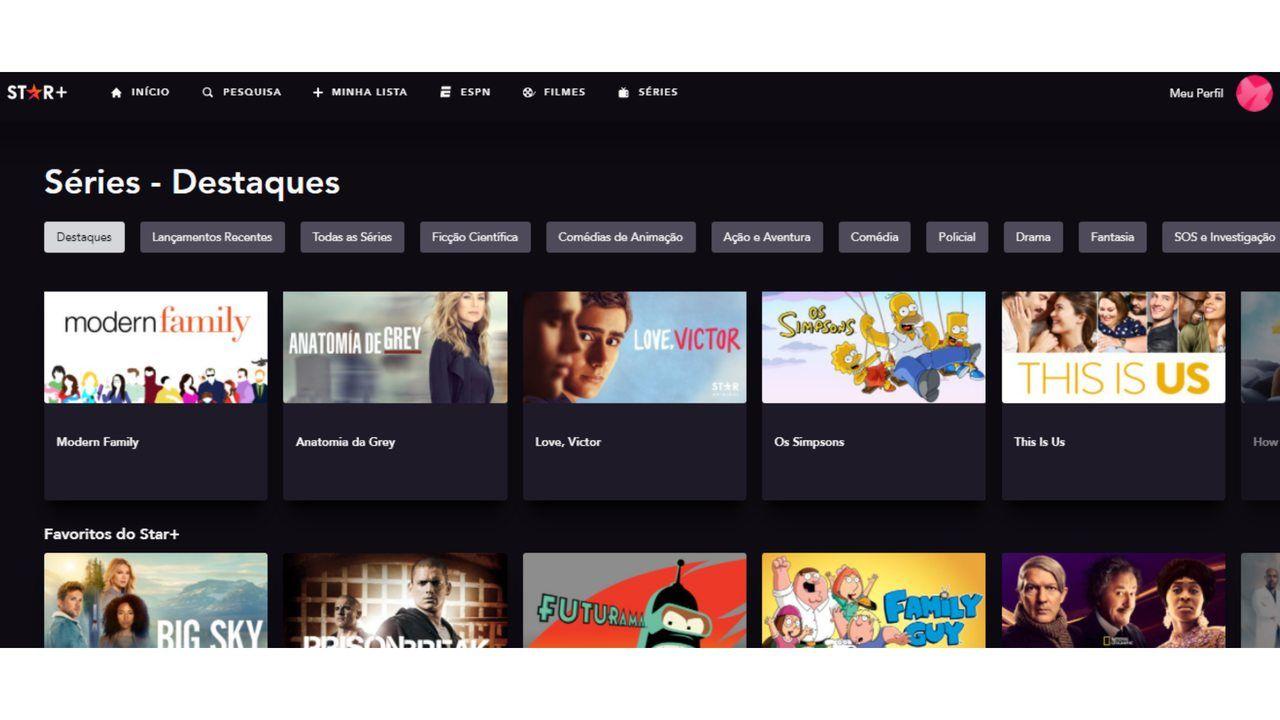 Captura de tela do catálogo de séries do Star Plus.