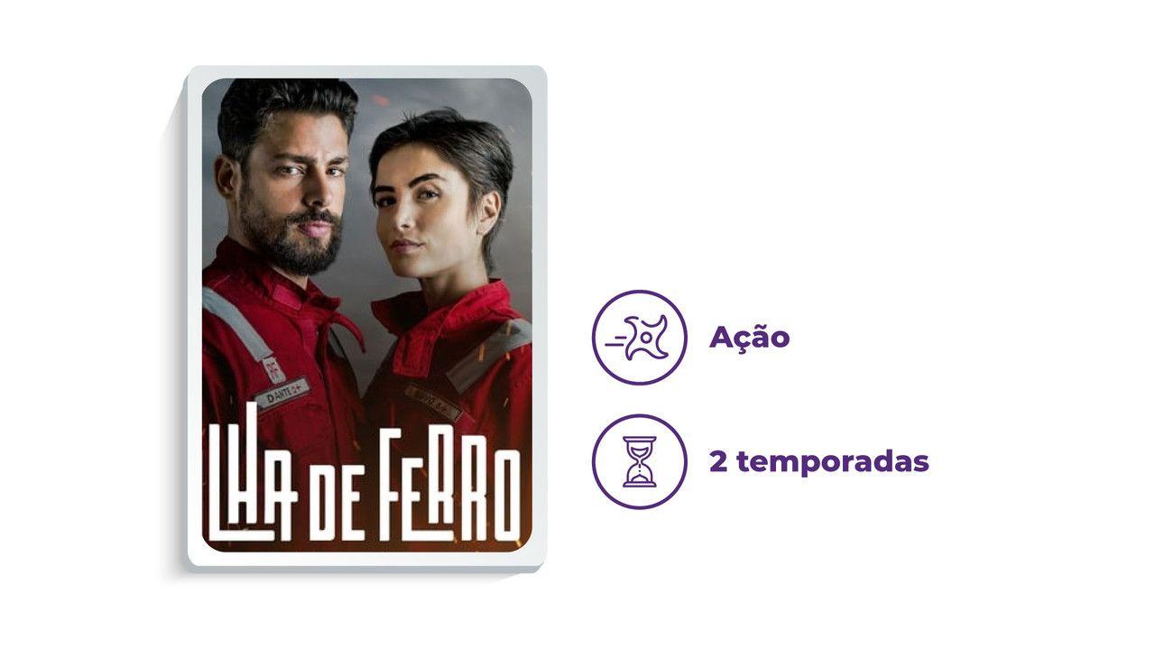 """Cartaz de divulgação da série """"Ilha de Ferro"""" ao lado dos escritos """"Ação"""" e """"2 temporadas"""", tudo em fundo branco."""