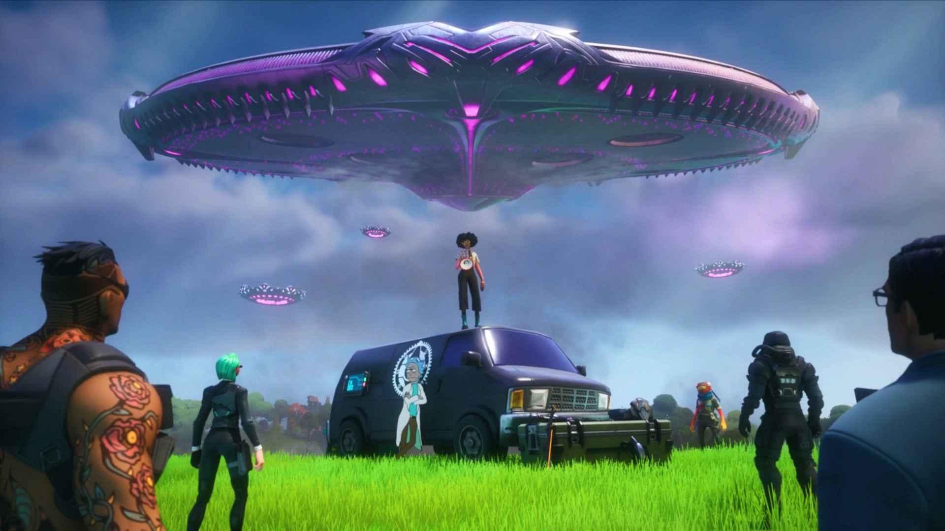Ilustração promocional do jogo Fortnite, mostrando personagens se deparando com uma imensa nave espacial
