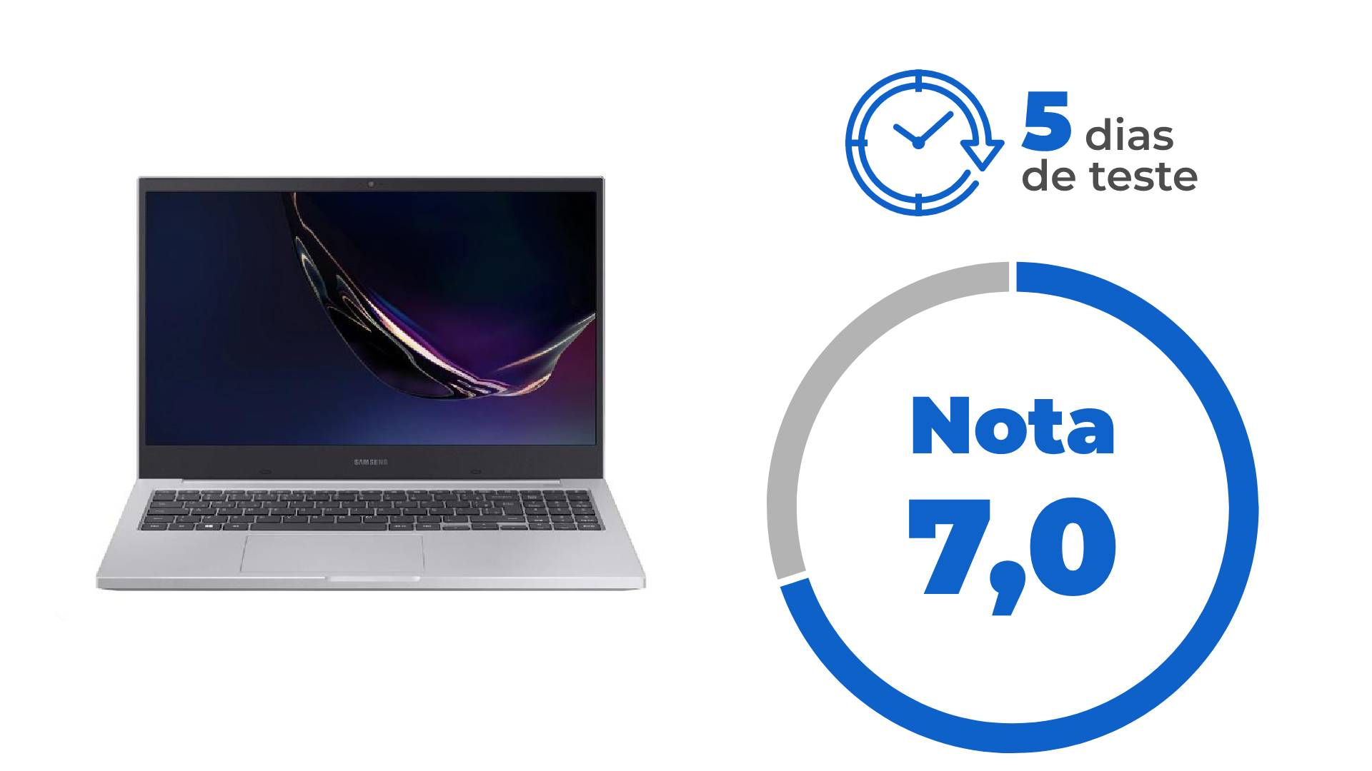 Ilustração mostrando Samsung Book X50 à esquerda e nota 7,0 escrita à direita