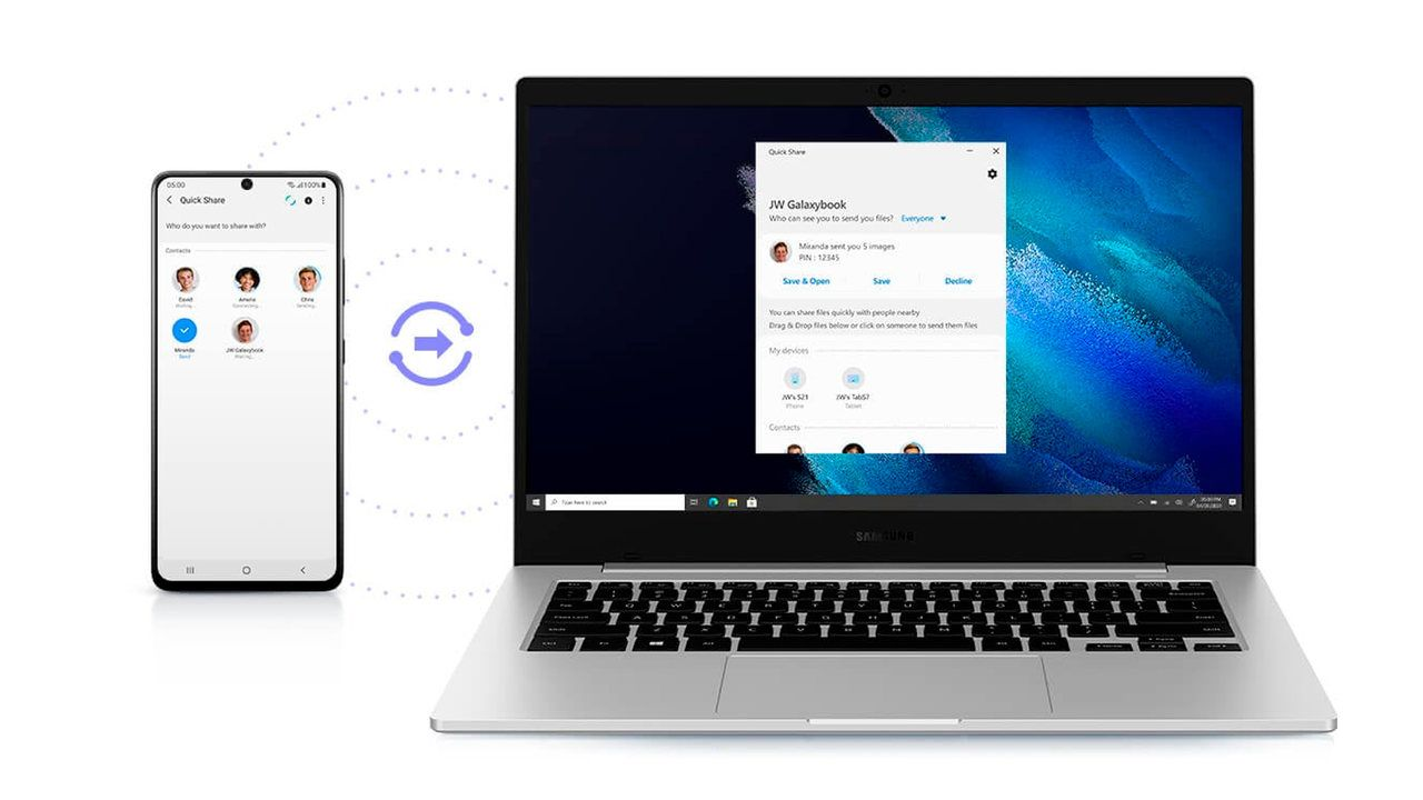 Samsung Galaxy Book Go ao lado de celular em fundo branco