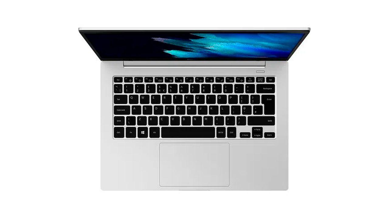 Samsung Galaxy Book Go cinza com teclado preto visto de cima