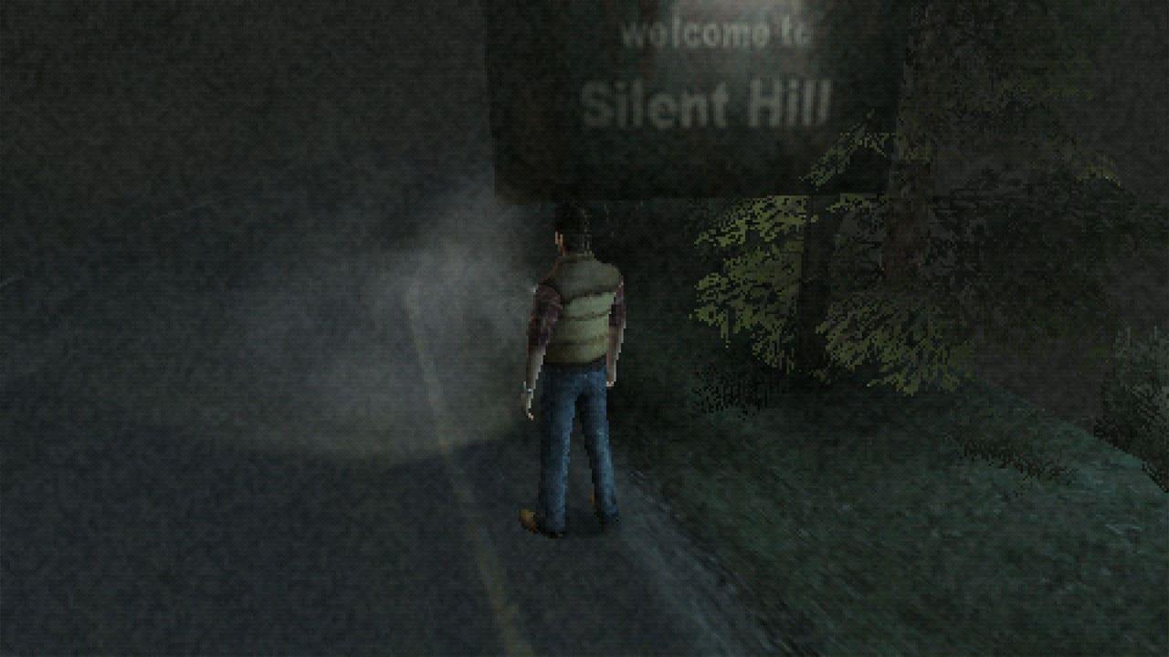 Personagem de Silent Hill Origins no escuro, na estrada