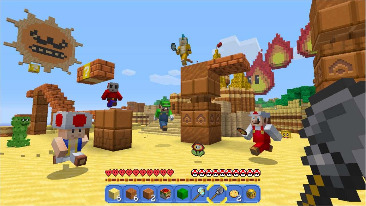 Cena do jogo Minecraft ao estilo Super Mario, com personagens Mario, Luigi, Toad, Bowser e Shy Guy
