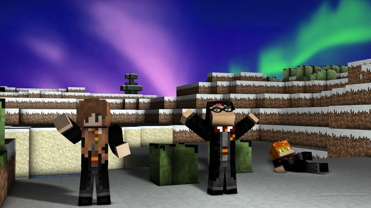 Skins para Minecraft de personagens de Harry Potter, Harry, Rony e Hermione, nas montanhas de Minecraft