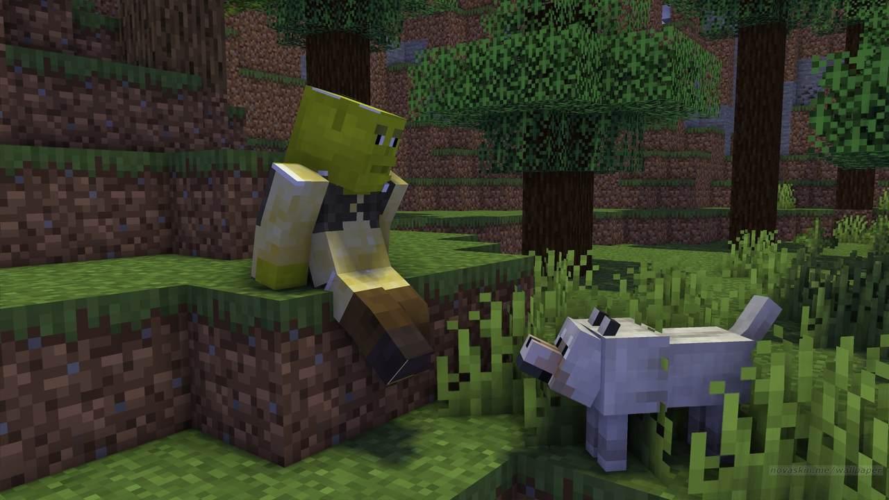 Skin para Minecraft do ogro Shrek sentado na floresta com um cachorro