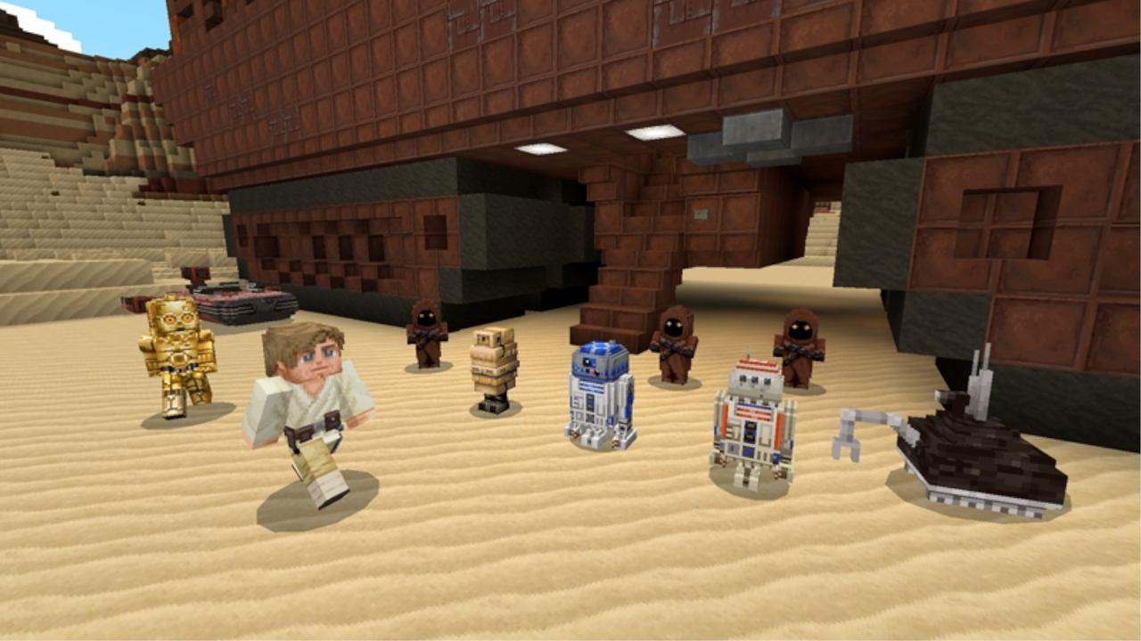 Minecraft com cenário inspirado em Star Wars, com skins do Luke Skywalker, C3PO, R2D2 e BB8.