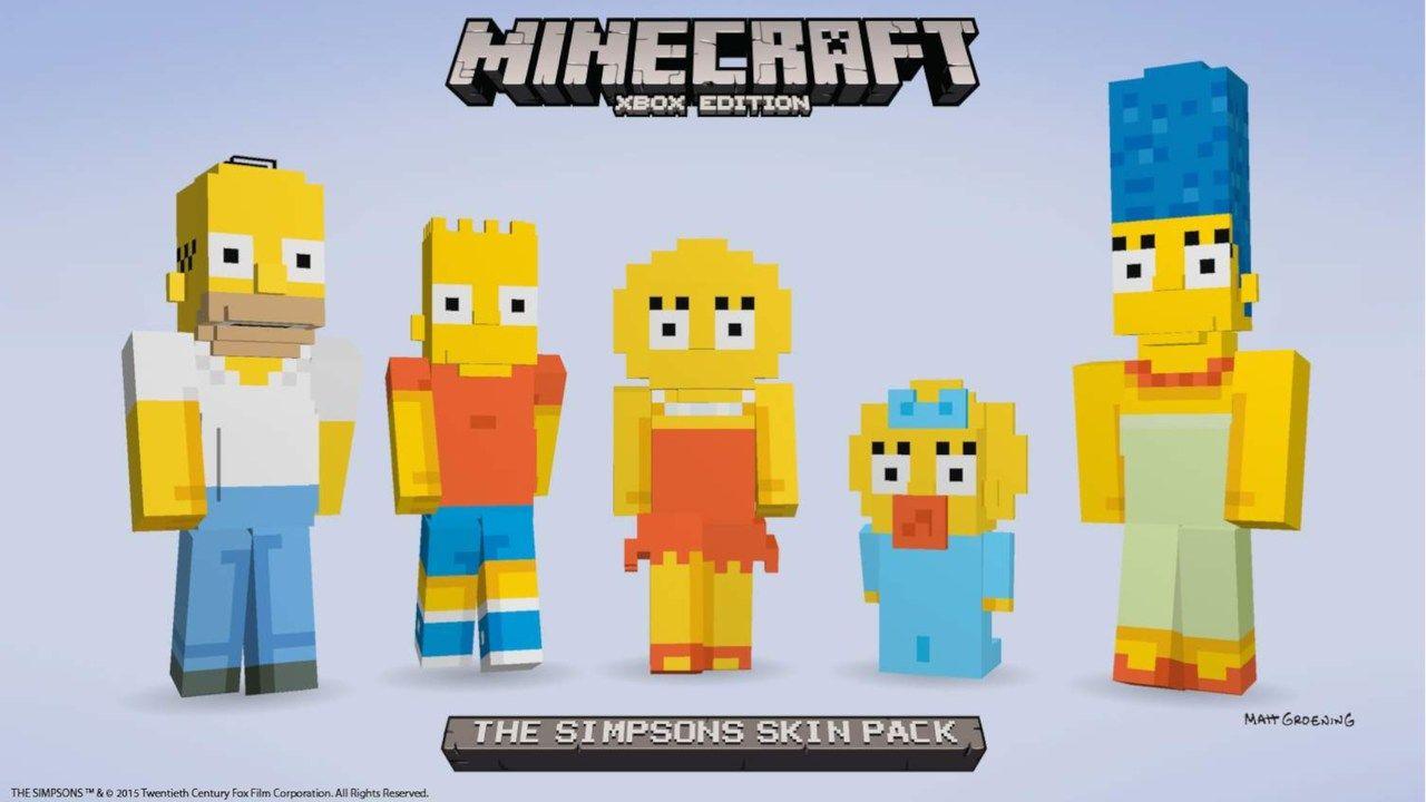 Imagem de divulgação de Simpons Skin Pack do Minecraft no XBOX com os personagens Homer, Bart, Lisa, Maggie e Marge.