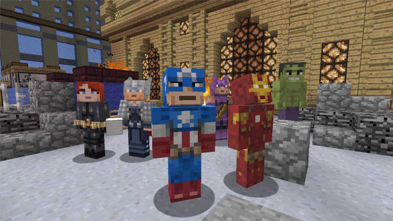 Personagens dos Vingadores em forma de skins do Minecraft, com Capitão América, Viúva Negra, Thor, Homem de Ferro, Hulk e Gavião Arqueiro.