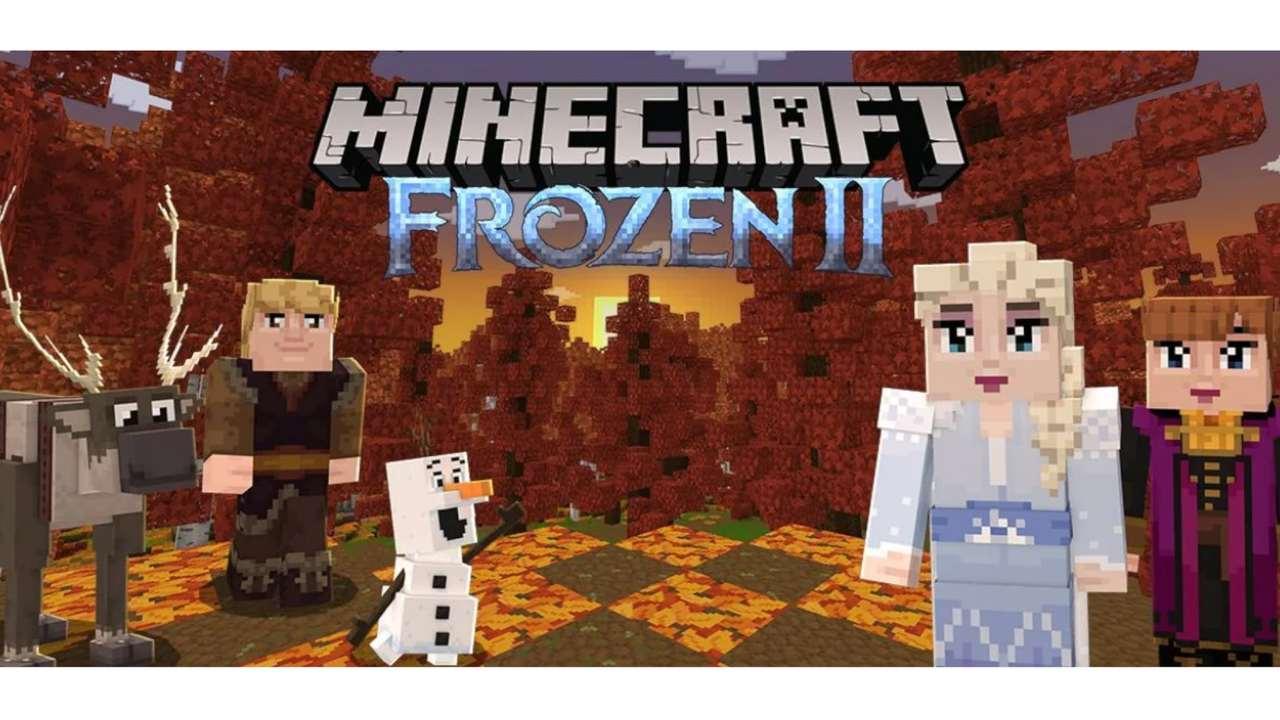 Cenário de Minecraft imitando cena de floresta do filme Frozen II com personagens Elsa, Anna, Olaf, Kristoff e Sven