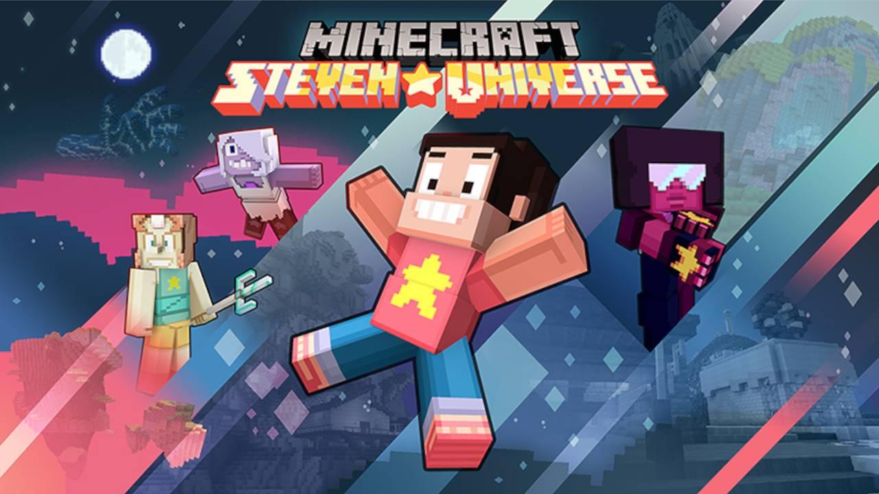 Minecraft com versão de Steven Universo, com Steven no meio e ao fundo Pérola, Ametista e Garnet