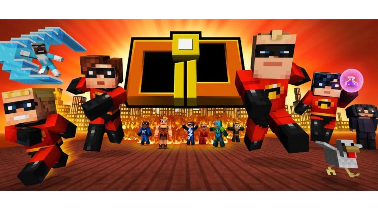 Divulgação de pacote de skins do Minecraft de Os Incríveis 2, com Senhor Incrível, Mulher Elástica, Violeta, Flecha, Gelado, Edna Moda e mais heróis ao fundo
