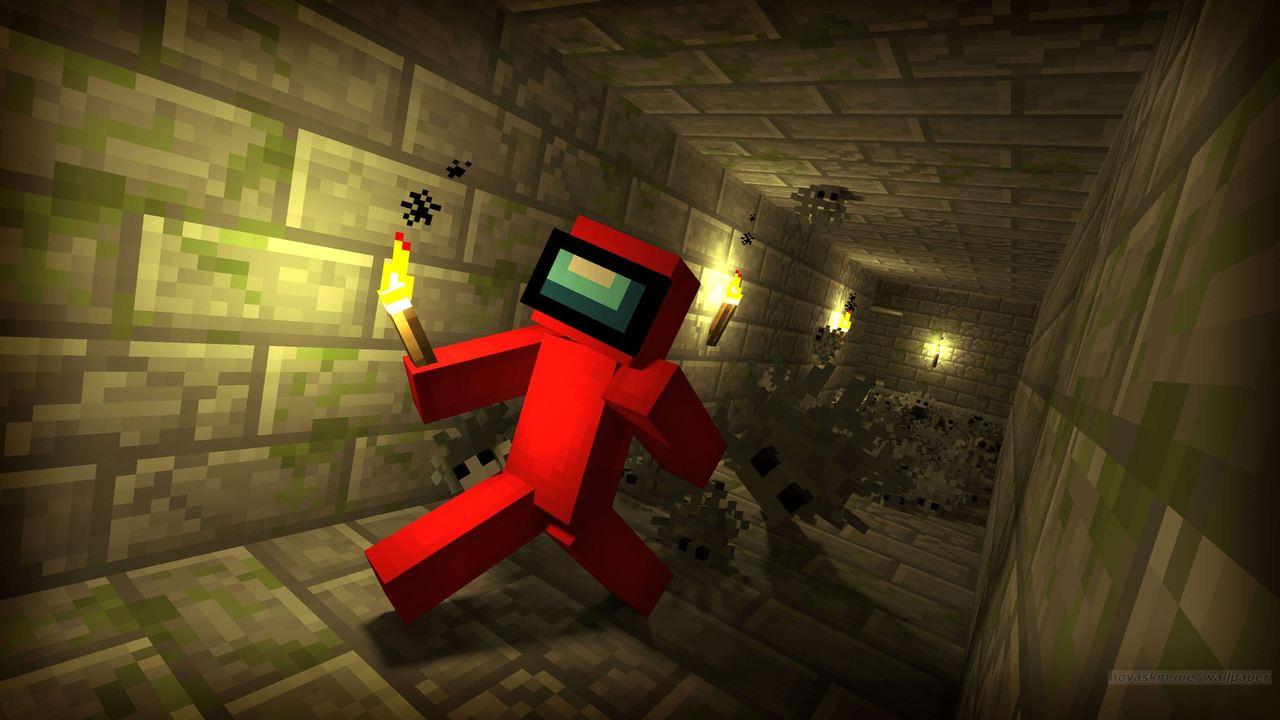 Skin de Minecraft de personagem do jogo Among Us correndo em uma caverna