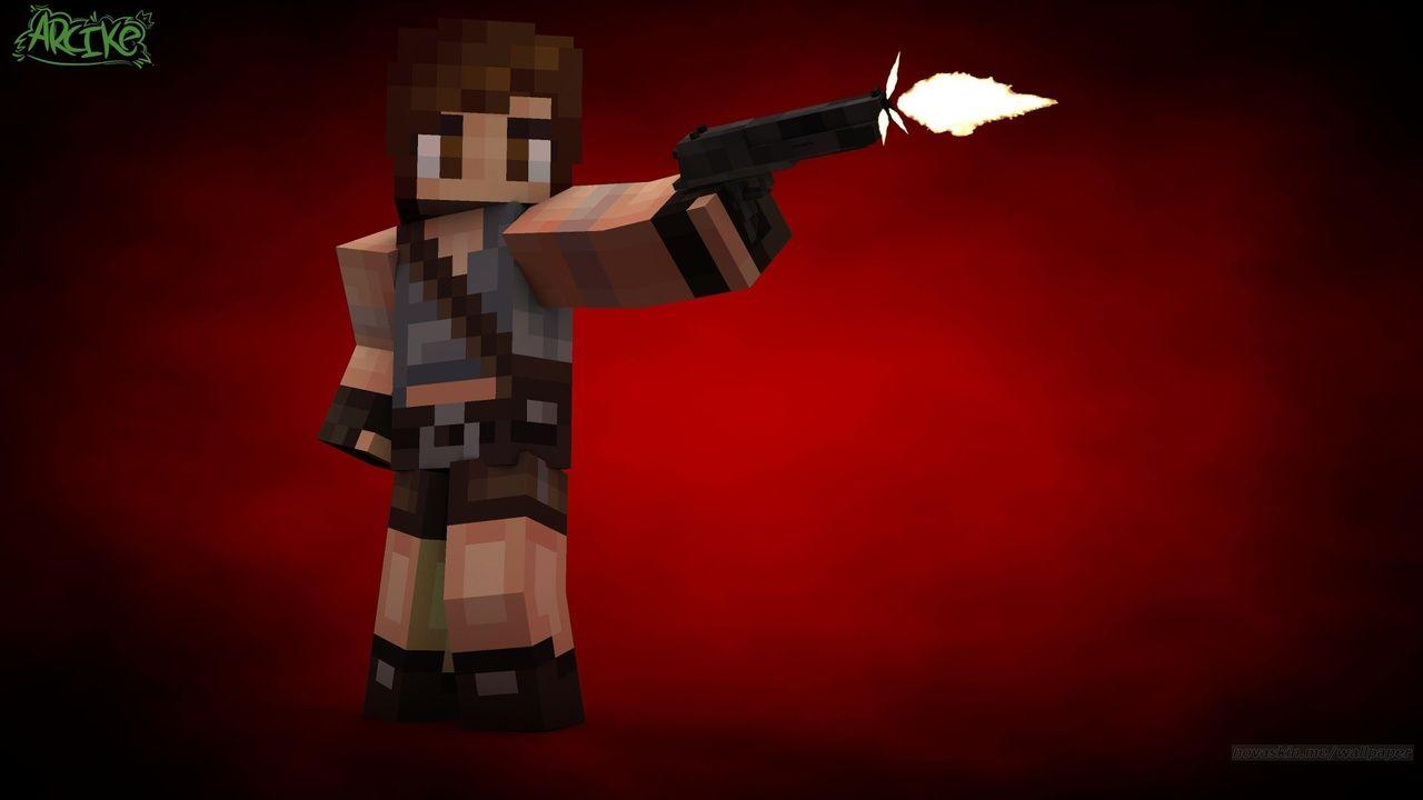 Skin de Minecraft da personagem Lara Croft do jogo Tomb Raider com uma pistola na frente de um fundo vermelho