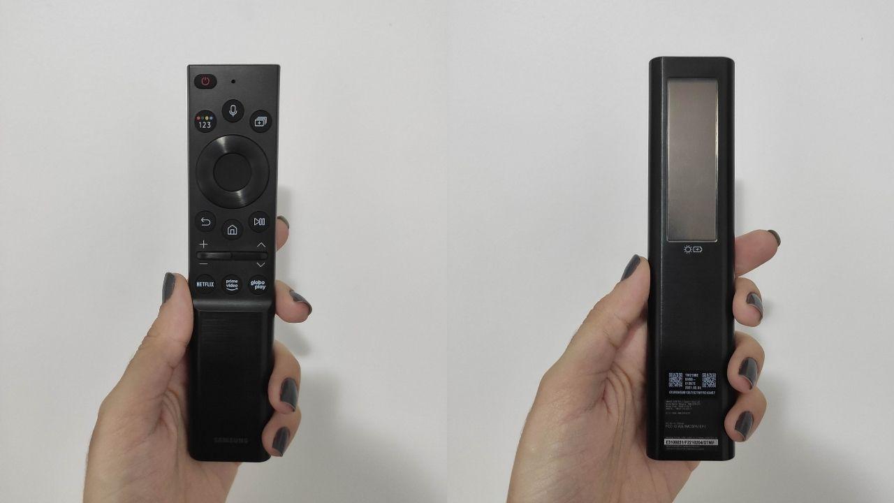 Montagem com duas fotos: na 1ª, mão segura o Solar Cell virado de frente. Na 2ª, aparece a parte traseira.