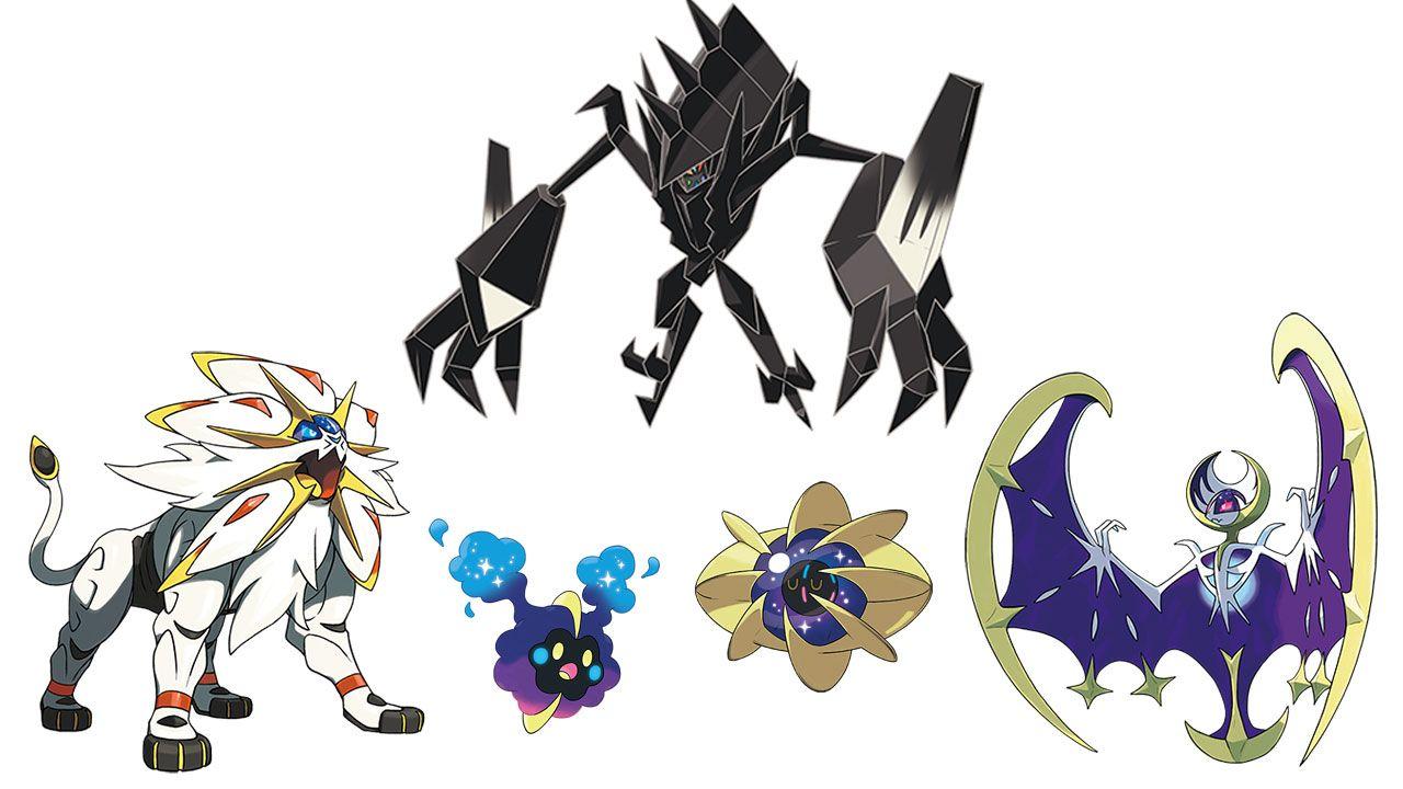 Solgaleo, Lunala, Necrozma, Cosmog e Cosmoem no fundo branco
