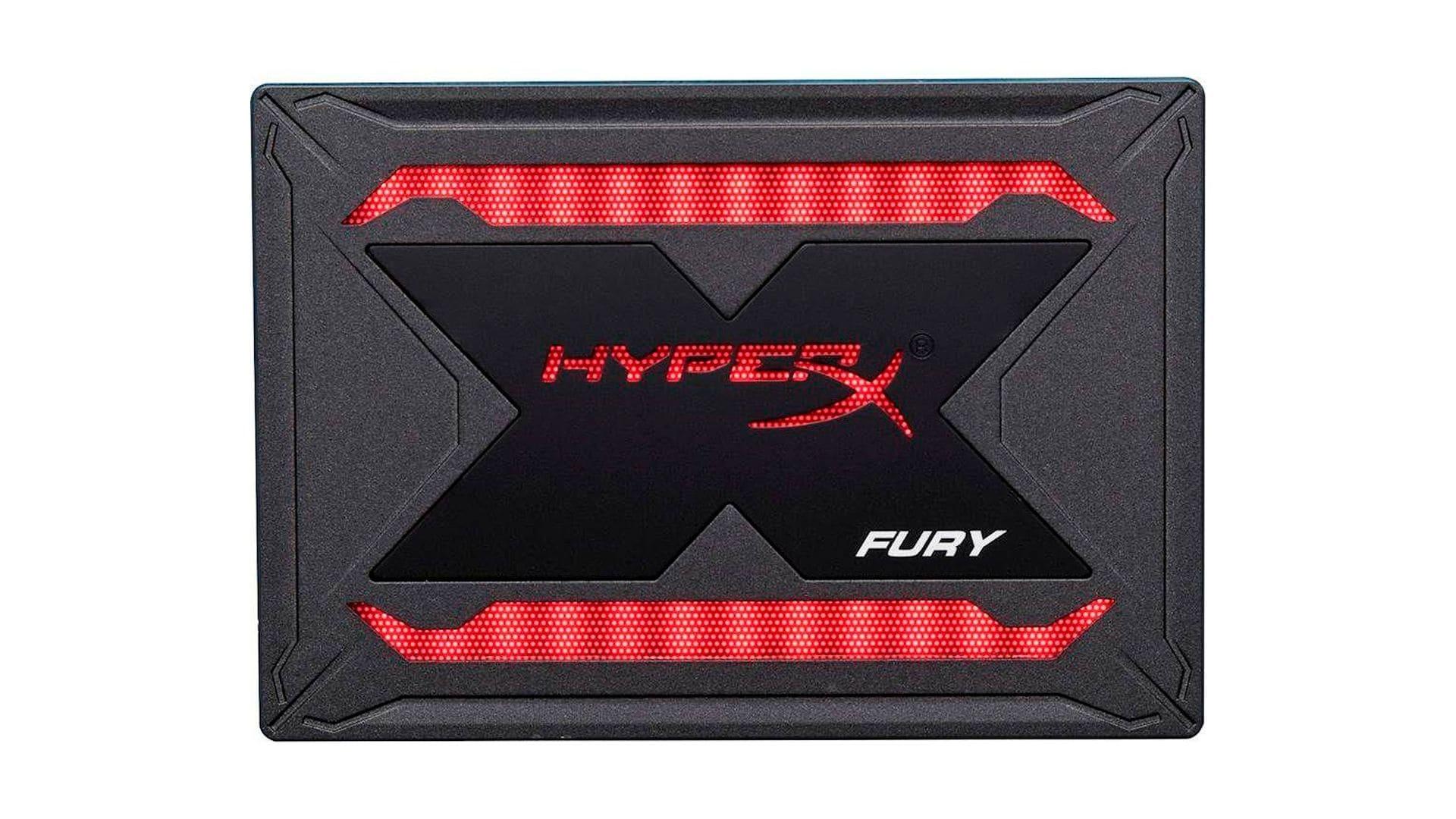 SSD 480GB HyperX Fury preto e vermelho no fundo branco