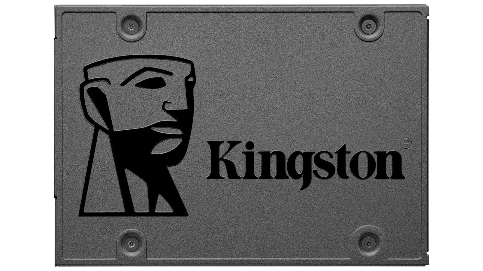 SSD 480GB Kingston SA400S37 preto em fundo branco