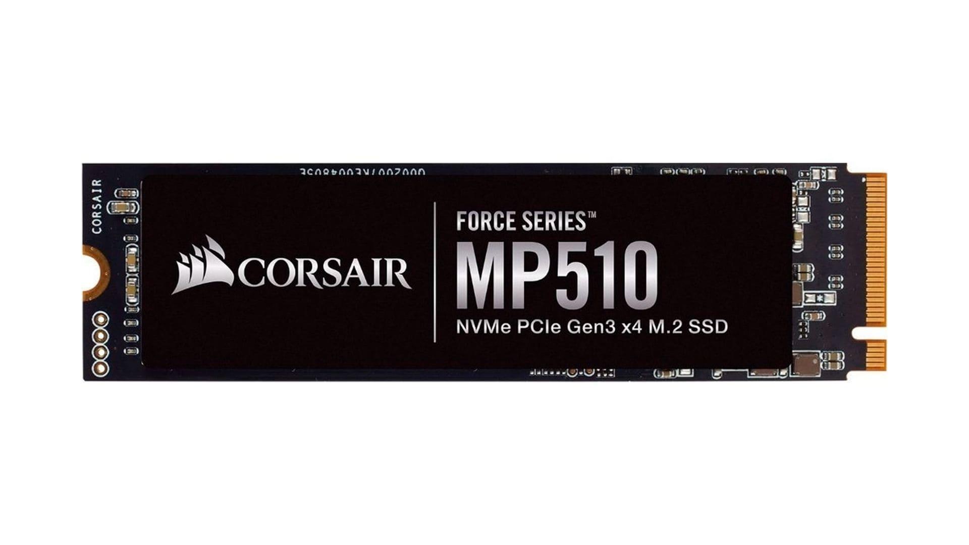 SSD 480GB M2 Corsair Force CSSD-F480GBMP510 preto no fundo branco