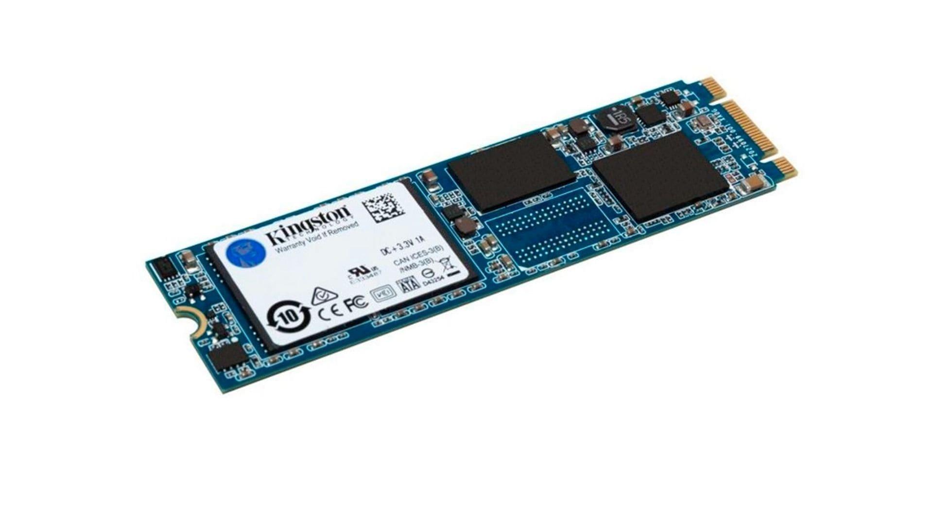 SSD 480GB M2 Kingston Suv500Ms preto e azul no fundo branco